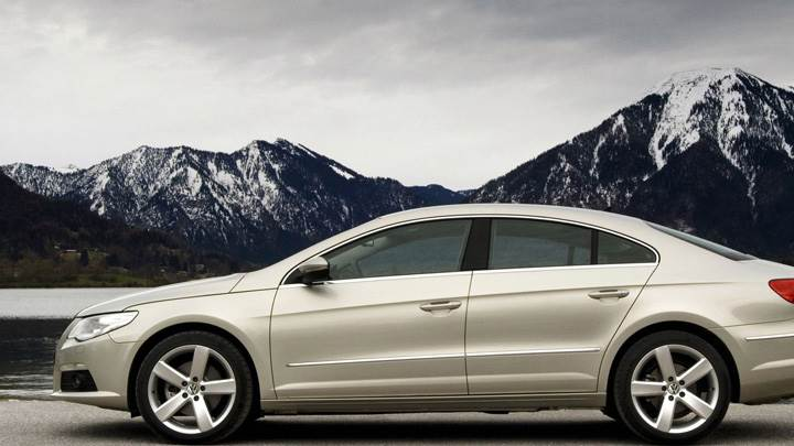 Side Pose Of 2009 Volkswagen Passat CC GT Near Mountains
